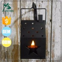 Rustic Primitive Country Black Metal House w/ Stars Candle Holder Lantern