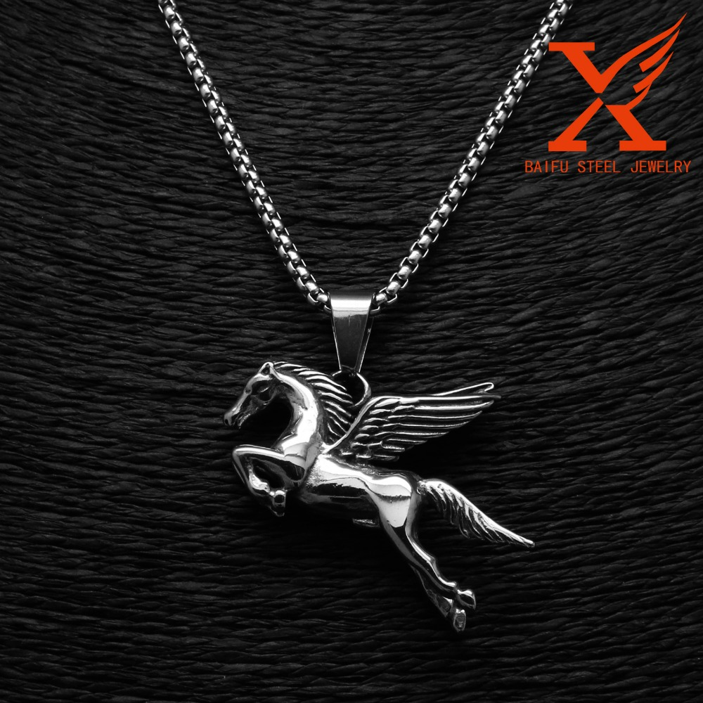 Wholesale Horse Jewelry Stainless Steel Gothic Pegasus Steed Horse Pendant
