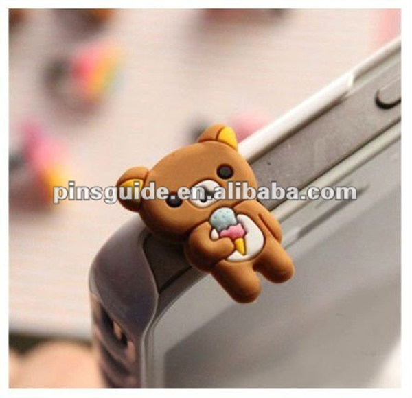 Safety Funny Cartoon PVC Best Sale Phone Dust Plug For Decoration