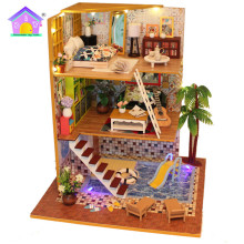 Factory miniature doll house supplies kayu miniatur rumah diy house toy puzzle