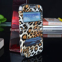 FL698 Luxury Leopard Chrome Design for samsung galaxy s3 flip hard Case with leather for s3 electroplating case