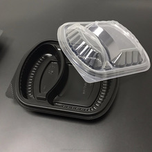 Disposable plastic 2 compartment takeaway lunch box