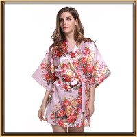 Women Satin Bath Robe with floral printing