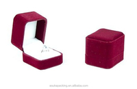 Large Classic Luxury Velvet fabric Ring Box Wholesale, Black or Red