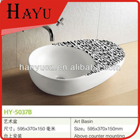 HY-5037B Oval Shape Bathroom Vanity Top With Ceramic Sink