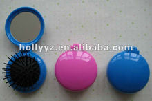 Hot sale plastic blue folding comb with mirror