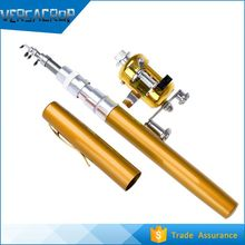 VC046 Portable Pocket Pen Shape Mini Aluminum Alloy Fishing Rod Pole+Reel Line Silver