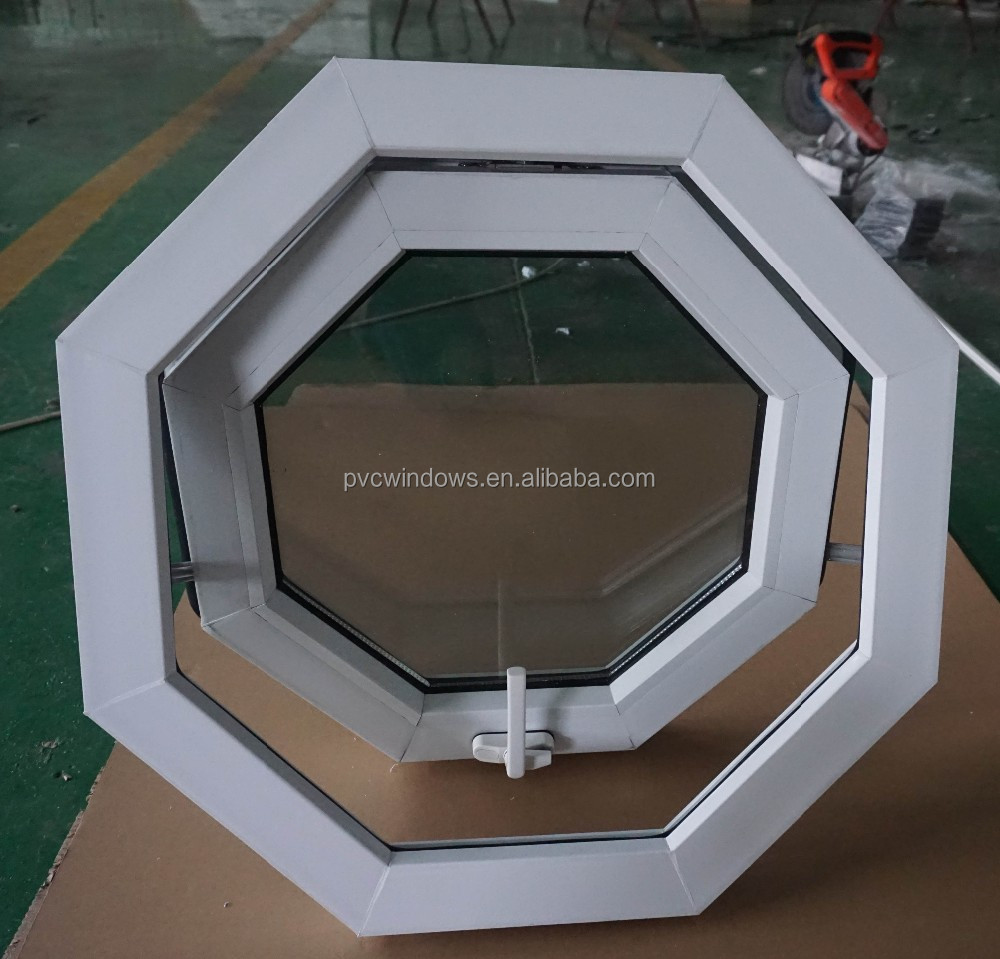tough and durable pvc-u profile awning type octagon windows with glass