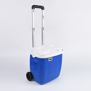 Promotional commercial mini mobile suitcase small medical blood rolling fridge ice chest cooler box with trolley