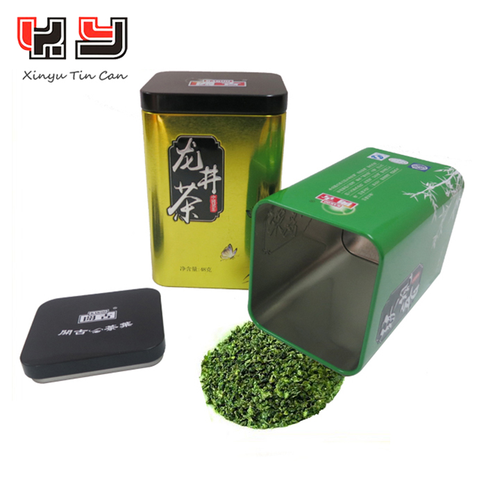 Wholesale Metal Tea Tin Cans With Double Lid / Promotional Tea Tin Boxes
