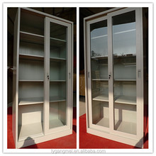 Office filing storage steel sliding glass door cabinet