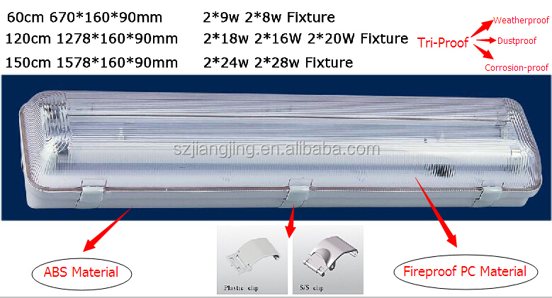 2x18w Ip65 Housing Fixture Lamp Batten For Double Led Tube