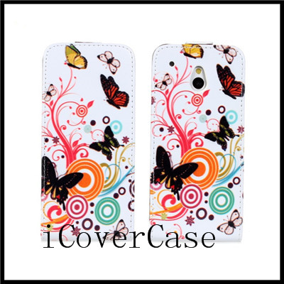 for htc one mini m4 prints flip case cover with 4 kinds