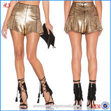 New Arrival Hot Open Sexy Girls Picture of Bling Bling Cocktail Sequined Shorts Hot Sale Copper Color Women Shorts