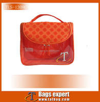 Promotional toiletry bag, made of satin for body,PVC for window.