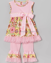 pretty good clothing brand chep price tunic sleeveless &floral ruffled pants sets wholesale children's boutique clothing