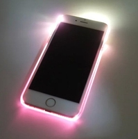 New LED Flash Light Up Case Remind Incoming Call Transparent PC Hard Back Cover for iPhone 6S 6 Plus 4.7'' 5.5''