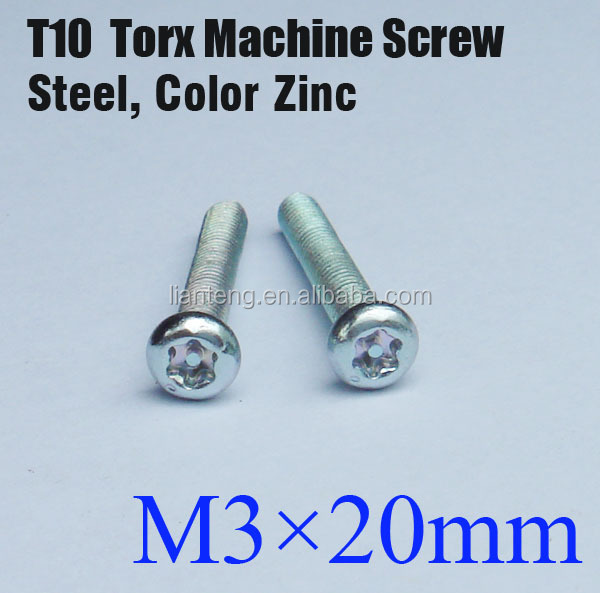 Torx Pan Head Machine Screw M3*20mm, C1022 carbon steel Rohs Screw