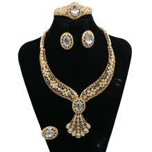 African gold plated jewelry wholesale crystal necklace earrings bracelet rings for wedding JH25Y186-JH25Y190