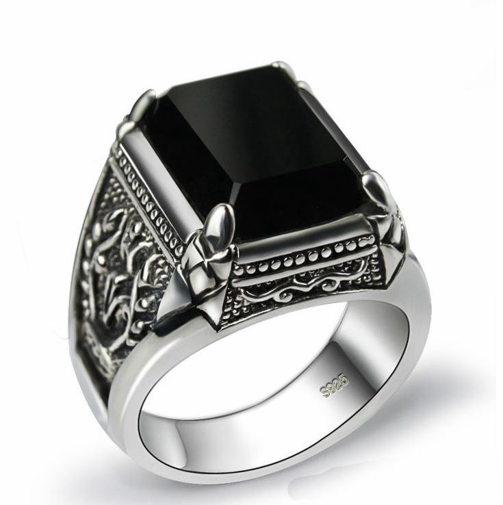 Black obsidian ring vintage 925 sterling silver for mens with natural stone fine <strong>jewelry</strong> royal de plata