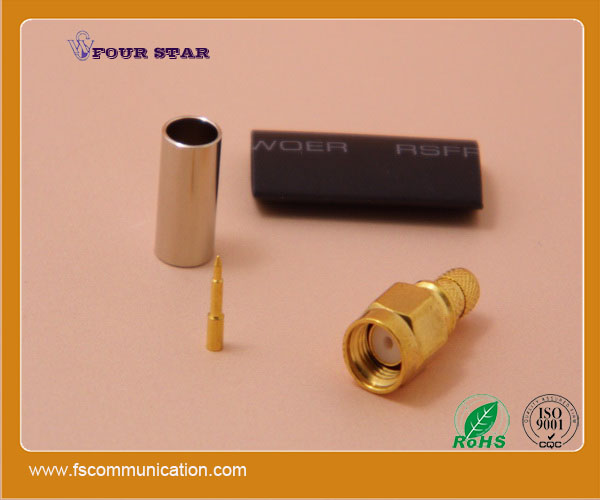 LMR195 cable crimp waterproof male rf sma connector