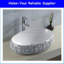 2016 New Design Popular The Indain Market Ceramic Hand Washingp Sink Wash Bowl Oval Countertop Art Basin No.092