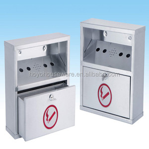 wall mounted stainless steel ashtray cigarette bin
