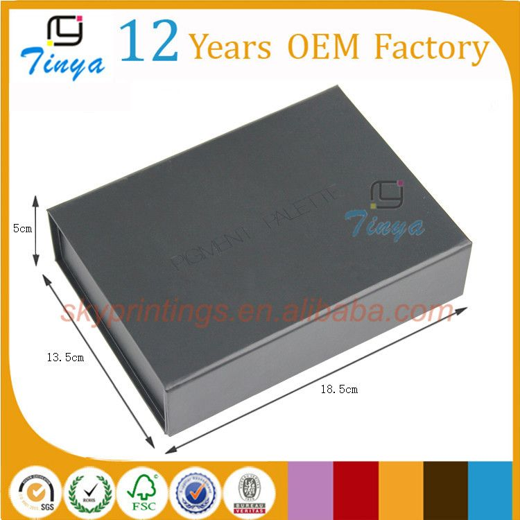 black recycle rectangle folding paper box for cosmetic