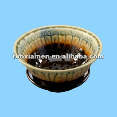 ceramic pottery enamel berry bowl with saucer