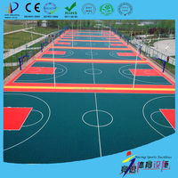 plastic outdoor basketball court floor surface covering on asphalt concrete base