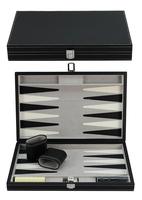 Custom 15 Inch Leather Travel Backgammon Set