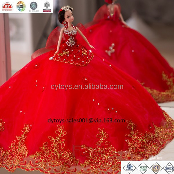 PVC beauty dolls with red wedding dress luxury wedding gifts ICTI factory OEM /ODM