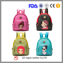 Hot selling high quality young student school backpack leather backpack