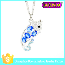 Silver Plated Happy Play Dolphins with Round Cubic Zirconia Crystal Necklace Fashion Jewelry for Women