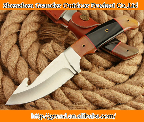 Ox horn handle rescue hunting knife 58HRC 7Cr17Mov Stainless steel outdoor knives 4588