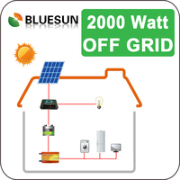 Bluesun easy installed 2000 watt solar panels for solar system 2kw with battery