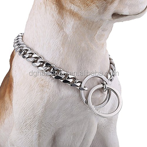 Wholesale dog products 316l stainless steel 13mm big dog welded chain dog training Collars