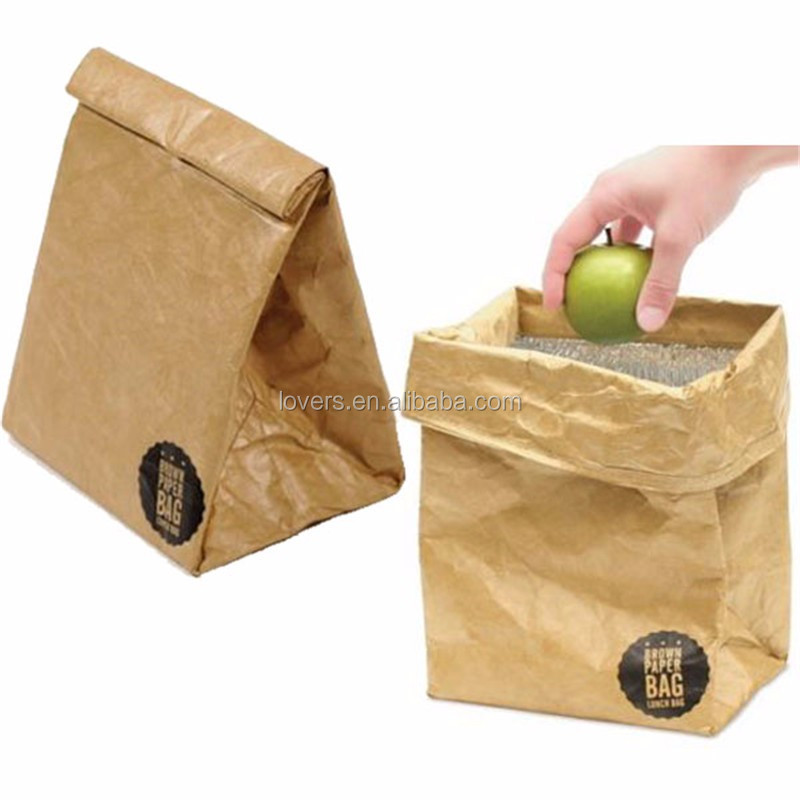 brown tyvek paper bag lunch cooler bag