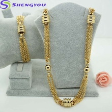 316 Long Chain Stainless Steel necklace 18K Gold Jewelry With Mini Ball Link Necklace Hot Selling