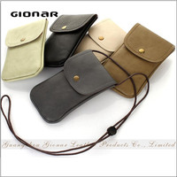 Hot Sell Vintage PU Leather Mini Smartphone Case Bag with Lanyar for Cellphone