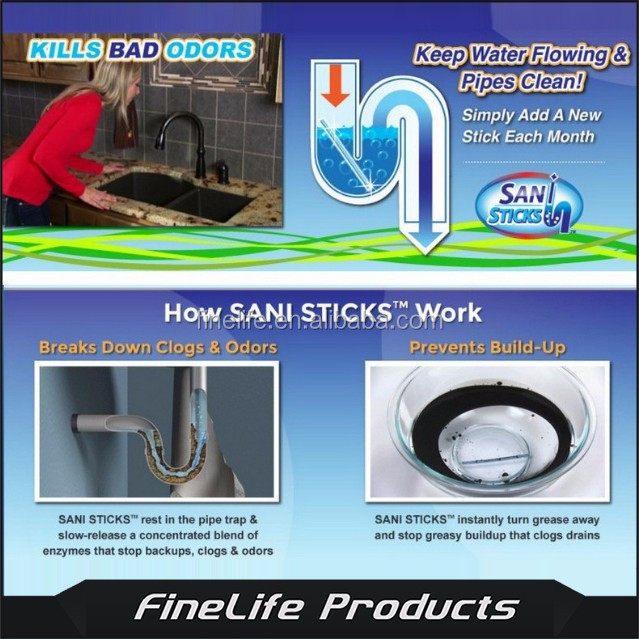 Sani Sticks, As Seen on TV Drain Cleaner and Deodorizer, Unscented - 12 Pack
