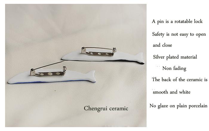 Jingdezhen fish shape hand molding porcelain high white clay wholesale custom brooch