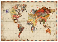 "24"" x 36"" Postage World Map Vinyl Wall Poster"