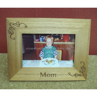 Rectangular wooden picture photo frame with carved leaves and words for decor