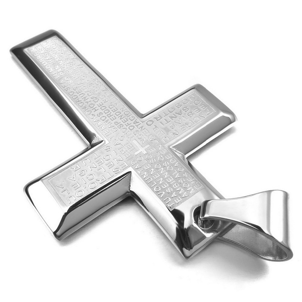 Wholesale 2014 Well Men's Stainless Steel Pendant Necklace Silver Cross Bible Lords Prayer Vintage Polished -with 23 inch Chain