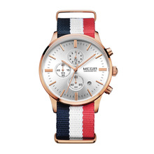 Fashion brand nato nylon betl sub dial chrongraph quartz movement watch for men