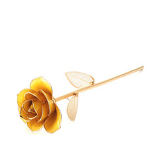Daiya 24K Gold Dipped Rose With Golden Leaves