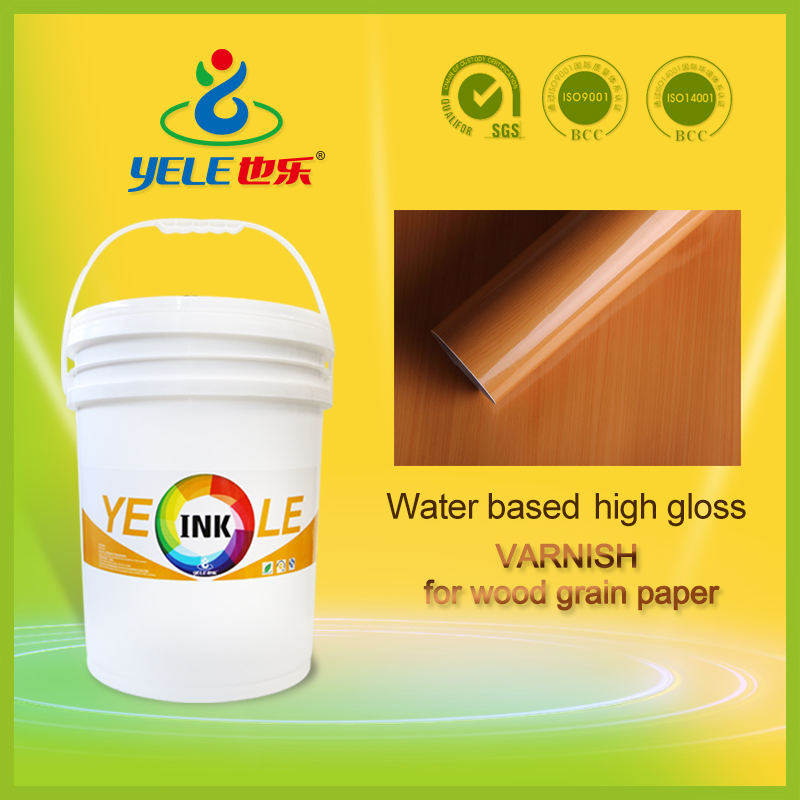 High gloss water based varnish for wood grain paper