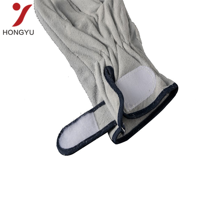 Cheap product safety long grey leather safety welding gloves wholesale