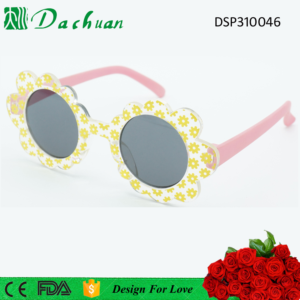 Round flower shape PC injection girl kids sunglasses